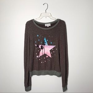 Wildfox Gray Starry Palms Pullover